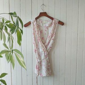 ModCloth cream white parrot floral print wrap top